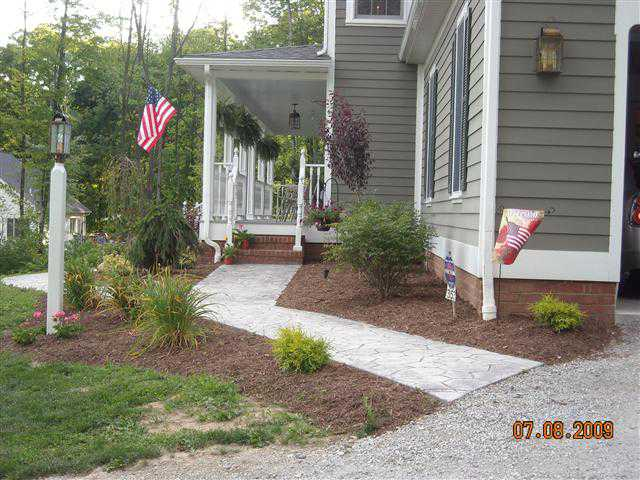 Landscaping and Stamped Concrete Sidewalk
